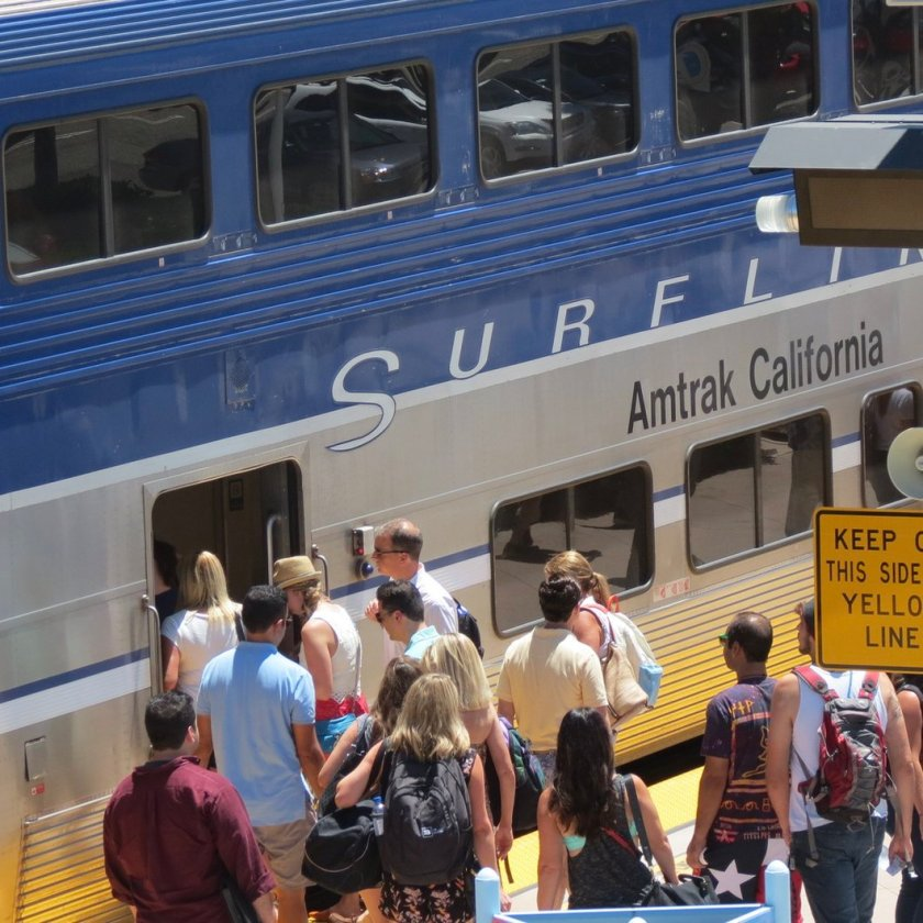 Irvine Passengers Boarding the Pacific Surfliner